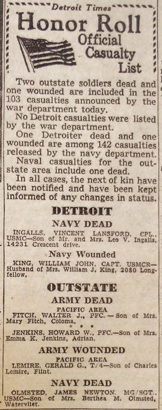 DETROIT TIMES HONOR ROLL OFFICIAL CASUALTY LIST (August 14, 1945) | Clippings from the DETROIT TIMES Times Newspaper, Honor Roll, Detroit