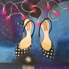 Kitten Heels and Fairy Lights by Gertie Young, The Royal Watercolour Society RWS – Dry Red Press British Artist, Art Society, Watercolor Fish, Inspiration, Watercolor, Beautiful Greeting Cards, Art
