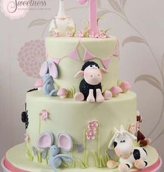 Cute Little Farm Animals Baby Shower Cake