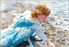 BEACH COMBER GIRL Children 15x11 Giclee Watercolor Print Beach Play, Beach Girls, Beach Art, Ocean Music, Watercolor Paintings, Beach Paintings, Watercolor Portraits, Watercolours, Pink Sundress