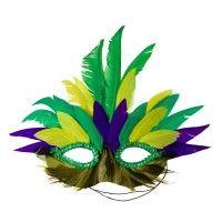 Feather Mardi Gras Mask - Green Yellow
