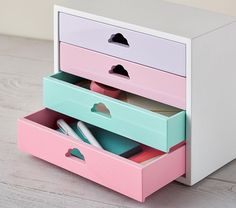 This charming Pastel Desktop Organizer boasts four colorful drawers with cloud silhouette cutouts for drawer pulls. Perfect for storing accessories or school supplies, this organizer adds some fun to cleanup. Pastel Furniture, Cute Furniture, Office Furniture, Diy Room Decor, Bedroom Decor, Home Decor, Kawaii Bedroom, Pastel Decor, Desktop Organization