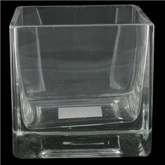 "4"" Clear Square Glass Vase 