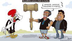 Charge do Dum (Zona do Agrião) sobre o processo que #RonaldinhoGaúcho moveu contra o #Galo (17/08/2016). #Charge #Dum #Atlético #R10 #Ronaldinho #Assis #Atlético #Processo #HojeEmDia