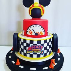 Mickey Birthday Cakes, Mickey Mouse Birthday Decorations, Mickey Mouse First Birthday, 2nd Birthday Boys, Mickey Mouse Baby Shower, Dinosaur Birthday Cakes, Race Car Birthday, Birthday Themes For Boys, Cars Birthday Parties