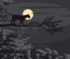 panther: EPS8 illustration modifiable vecteur de découpe d'un léopard sur une branche d'arbre silhouette contre la lune la nuit Illustration Panther, Bulletin Board Tree, Tree Branch Tattoo, 1 Tattoo, Tree Silhouette, Illustrations, Tree Branches, Tattoo Inspiration, Tatting