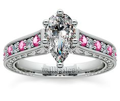 Pear Antique Diamond & Pink Sapphire Gemstone Engagement Ring in White Gold  http://www.brilliance.com/engagement-rings/antique-diamond-pink-sapphire-gemstone-ring-white-gold