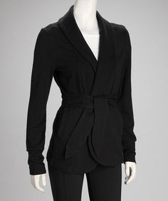 Take a look at this Black Lounge Wrap Jacket by Colosseum on #zulily today!