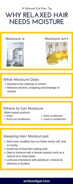 Keeping hair moisturized is something everyone striving for healthy hair struggles with at some time or another. Get the basics on what moistures is and how to keep it in this infographic. | arelaxedgal.com