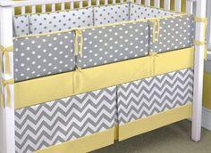 Crib Bedding Set Gray White Yellow