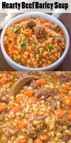 This Hearty Beef Barley Soup is a restaurant-worthy, absolutely delicious, easy-. This Hearty Beef Barley Soup is a restaurant-worthy, absolutely delicious, easy-to-make and filling meal. Made with Crock Pot Recipes, Slow Cooker Recipes, Cooking Recipes, Healthy Recipes, Cooking Time, Healthy Soup, Barley Recipes, Beef Soup Recipes, Cooking Beef