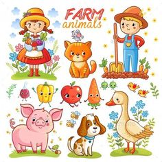 Buy Farm Cartoon Set with Animals by svaga on GraphicRiver. Farm cartoon set with farm animals, vegetables and characters. Pepper isolated on white background. Art Drawings For Kids, Drawing For Kids, Cute Drawings, Farm Cartoon, Pirate Cartoon, Farm With Animals, Cartoon Background, Apple Background, Cat Character