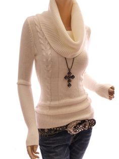 Amazon.com: Patty Women Drape Ribbed Cowl Neck Cable Knit Pullover Long Sleeve Knitwear Jumper: Clothing ($49.99)