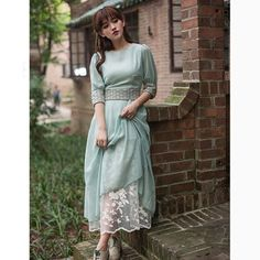 2015 Summer Downton Abbey Vintage Elegant Lolita Hand Embroidered Two Piece  Long Blue Women Dress. Visit site to buy. f4af42e44031