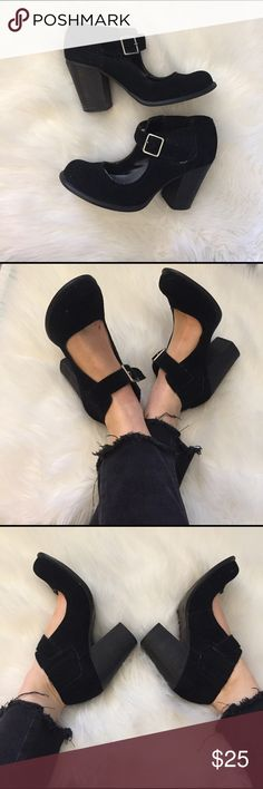 Black Suede Heels Rounded top. Chunky heel. Comfortable shoe. Ankle buckle. Bought originally at Macy's. Good for someone with wide feet. These shoes are so cute! Buy them before I change my mind!! MIA Shoes Heels