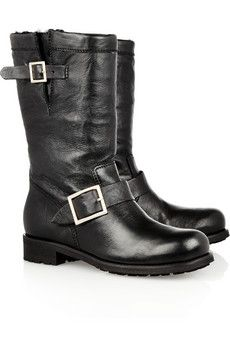 Jimmy ChooRabbit-lined leather biker boots. WANT THESE