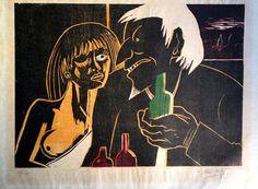 """""""Seducción"""". Francisco Amighetti, Cromoxilografía, 36 x 49 cm, 18/41. 1990."""