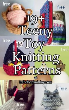 Crochet Stuff Bears Patterns Knitting patterns for teeny tiny toys - sized at no more than 4 inches or 10 cm tall - Also see Quick Easter Patterns, Teddy Bear Patterns, Stashbuster, other Animal Patterns. Knitting For Kids, Loom Knitting, Free Knitting, Knitting Projects, Baby Knitting, Knitting Toys, Knitted Baby, Animal Knitting Patterns, Stuffed Animal Patterns