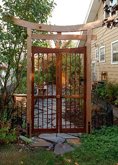I would connect this Asian style gate to the fence design backyard design diy ideas Zen Garden Design, Japanese Garden Design, Landscape Design, Garden Gates And Fencing, Garden Arbor, Fence Gates, Potted Garden, Cedar Fence, Garden Plants