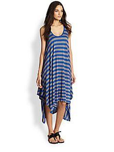BCBGMAXAZRIA - Mylene Striped Handkerchief-Hem Trapeze Dress