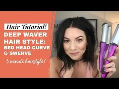 Deep Wave Iron Tutorial: Bed Head Swerve and Curve (Bed Head Deep Waver) YouTu Bed Head Waver, Bed Head Curl, Waver Iron, Hair Waver, Curved Bed, Mermaid Waves, Hairstyle Look, Short Hair Styles