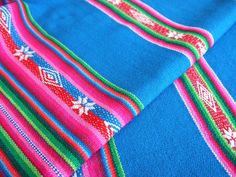 South American Fabric, Peruvian Fabric, Aguayo, Woven Textile, Blue