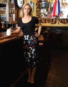 Kim Dickens in Cowgirl, NYC with margarita in hand