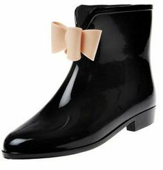 World Footwear Group Black Solid Rubber Rain Booties w/Beige Bow on shopstyle.com