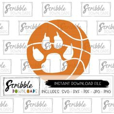 Paw Basketball svg mascot Instant Paw print svg Bobcats wildcats cougars lions printable iron on DIY basketball cheer mom fan cute popular Basketball Cheers, Wildcats Basketball, Basketball Shirts, Soccer, Paws Shirt, Cheer Mom, School Spirit, Scribble, Vector File