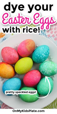 Food Coloring Egg Dye, Coloring Easter Eggs, Easter Egg Dye, Easter Egg Crafts, Easter Stuff, Diy Tie Dye Shirts, Rainbow Rice, Speckled Eggs, Kids Plates