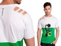 Camiseta Sport | Cód.5019 | Camiseta com ombro vazado. Estampa silk frontal e modelagem Slim-fit. Elaborado em algodão.