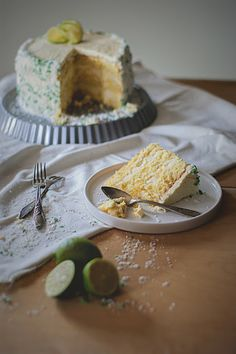 Lime and coconut layer cake. #food #cake #dessert