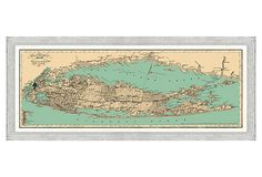 This high quality giclée print on fine art paper depicts a detailed map of Long Island and Connecticut. The piece is presented in a rustic white frame.  Map Antiquities specializes in hand-colored prints and giclée reproductions of beautiful maps from the 18th and 19th centuries, as well as original antiques.