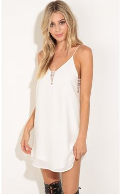 Party dresses > Strappy Chiffon Shift Dress In White