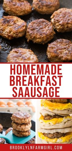 Easy step by step instructions on how to make homemade breakfast sausage using ground pork and ground turkey (more healthy!). Includes tips for no mess rolling out and cutting patty shapes. Homemade Breakfast Sausage, Delicious Breakfast Recipes, Delicious Dinner Recipes, Brunch Recipes, Dinner Dishes, Breakfast Dishes, Breakfast Ideas, Ground Turkey, Meal Ideas