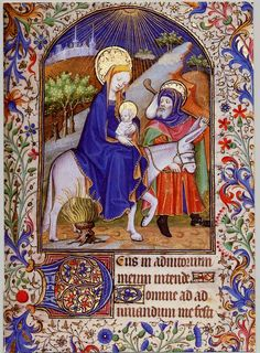 from a French Book of Hours, Flight into Egypt, 15th century.