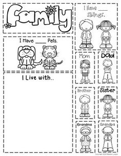 All About Me Interactive Notebook – No Prep! All About Me Interactive Notebook – No Prep! by The Super Teacher … Preschool Family Theme, Family Crafts, Preschool Art, Preschool Activities, Kindergarten Family Unit, English Activities, Writing Activities, Family Activities, All About Me Book