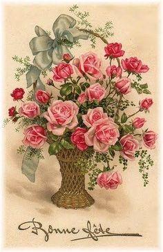 Vintage Basket Postcard of Beautiful Pink Roses by Bonne Fete Vintage Rosen, Vintage Diy, Vintage Images, Vintage Pictures, Art Floral, Floral Prints, Vintage Greeting Cards, Vintage Postcards, Vintage Flowers