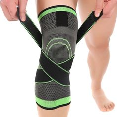 Ueasy 1 Pair Fitness Knee Brace Breathable Knee Support Sleeve for Sports, Joint Pain Relief, Arthritis and Injury Recovery (L, Grey Green)
