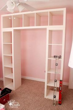 IKEA Expedit Turned into a Great Shelving Unit with Desk IKEA Expedit Turned int. IKEA Expedit Turned into a Great Shelving Unit with Desk IKEA Expedit Turned into a Great Shelving Unit with Desk Anna V. Home IKEA Expedit hack &;d use […] storage Ikea Desk, Kallax Desk, Diy Desk, Makeup Table Ikea, Ikea Expedit Bookcase, Billy Bookcase Hack, Ikea Office, Craft Desk, Office Desk