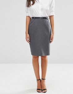 ASOS | ASOS Belted Pencil Skirt with Seam Detail