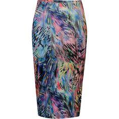 Glamorous Women's Neon Print Midi Skirt ($20) ❤ liked on Polyvore featuring skirts, bottoms, pattern skirt, print skirt, midi skirt, neon midi skirt and mid-calf skirt