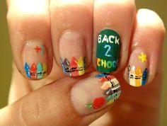 Back To School nail art Creative Nail Designs, Cute Nail Designs, Creative Nails, Acrylic Nail Designs, Acrylic Nails, Pedicure Designs, Get Nails, Fancy Nails, Hair And Nails