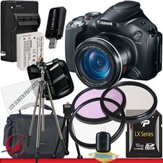 Canon PowerShot SX40 HS Digital Camera 16GB Package 5 by Canon. $371.58. Package Contents:  1- Canon PowerShot SX40 HS Digital Camera w/ All Supplied Accessories 1- 16GB SDHC Class 10 Memory Card 1- Rapid External Ac/Dc Charger Kit   1- USB Memory Card Reader  1- Rechargeable Lithium Ion Replacement Battery  1- Weather Resistant Carrying Case w/Strap  1- Pack of LCD Screen Protectors  1- Camera & Lens Cleaning Kit System  1- Mini Flexible Table Top Tripod 1- Memory Ca...