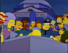 """""""Who Shot Mr.Burns, Part One"""" inspired by the infamous episode of Dallas """"A house divided"""" the town and even Smithers turns against Mr. Burns when he greedily crosses them all.  In the summer of 1995, Fox offered a similar contest to """"Who Shot J.R"""" which was one of the first such endeavors to tie in elements of television and the Internet. Unfortunately due to the conclusion of Part Two there was no winner as no one guess the right."""