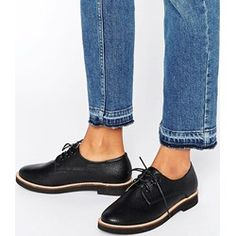 London Rebel - Scarpe brogue piatte stringate - Nero asos blu Pelle