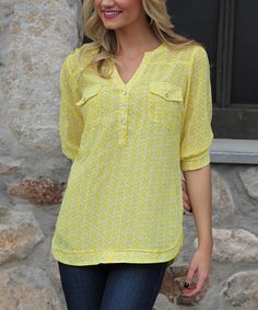 Another great find on #zulily! Yellow & White Horseshoe Button-Front Top #zulilyfinds