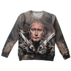 Barato 2016 Outono Nova Harajuku Camisola 3d Design Putin Putin Gun Impresso Hoodies Legal Crewneck Tops Pullover Quente Roupa S 6XL, Compro Qualidade Hoodies & Camisolas diretamente de fornecedores da China:    este é o tamanho Da Ásia, não basta escolhê-lo por S/M/L, por favor dê uma olhada nos dados do tamanho detalhado. obr