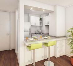Diseños de cocinas pequeñas con barra #cocinasmodernasideas