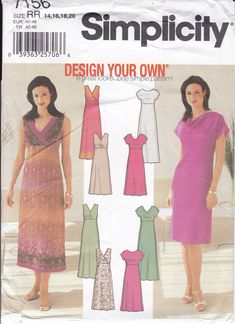 New Sewing Pattern for Women's Empire Dress Design Your own Simplicity Pattern  7156 Miss Size 14/20 14 16 18 20 Plus Size FF UNCUT 2002 by LanetzLiving on Etsy Plus Size Sewing Patterns, Simplicity Sewing Patterns, Short Dresses, Summer Dresses, Caftan Dress, Hot Pants, Design Your Own, Designer Dresses, Size 14